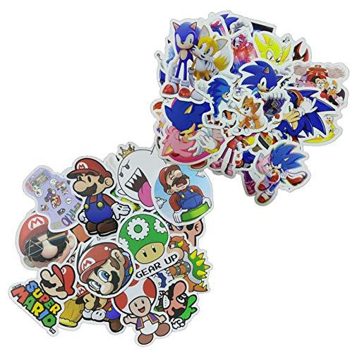 Sonic Super Mario Pegatina 100pcs Super Marioes Juego Pegatinas para decoración de pared Frigorífico, Motocicleta, Refrigerador Portátil Coche Pegatinas No Repetir