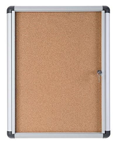Bi-Office Enclore Extra - Vitrina de Interior de Corcho con Puerta de Acrílico y Cerradura, 490x664mm - 4xA4
