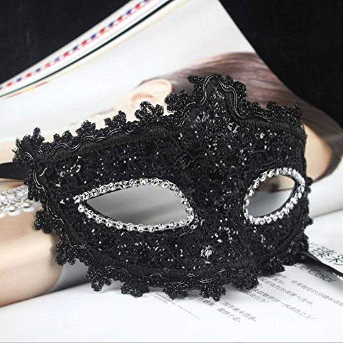 Black Lace Crystal Cosplay Roman Greek Venetian Halloween Costume Party Masquerade Mask