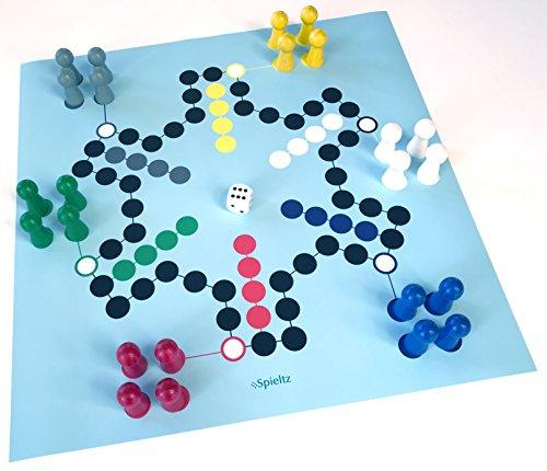 Spieltz 52627-SR-40: Riesen-Ludo für 6 Spieler. (Größe Large - Großformat)