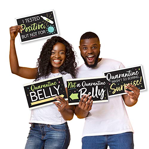 Big Dot of Happiness Quarantine Baby - Photo Prop Signs - Funny Pregnancy Announcements - 10 Pieces