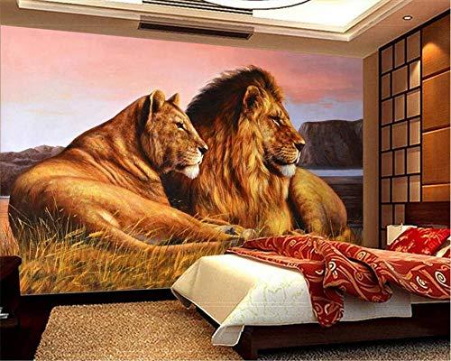 Nomte Gebruikergedefinieerde behang Hd Afrikaanse savanne leeuw schilderij achtergrond woonkamer slaapkamer tv achtergrond muur 3D wallpaper 250x175cm