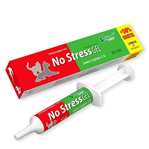 Vetfood No Stress Gel | Gegen Anspannung und Stress | Bei Feuerwerk, Sturm, Reisen, oder Tierarztbesuch | Für Hunde & Katzen | 15 ml