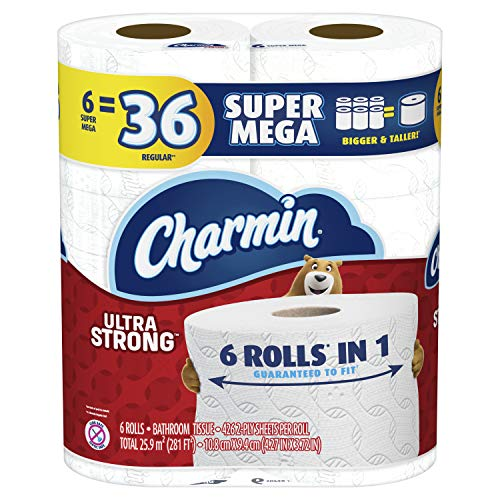 Charmin Ultra Strong Toilet Paper, 18 Super Mega Rolls = 108 Regular Rolls (Packaging May Vary)