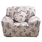 Funda elástica para sofá de 1 2 3 4 plazas, cubierta antideslizante en tejido elástico extensible, protector de sofá, diseño de mariposa, 1 Seater