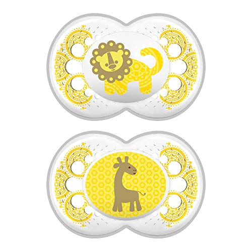 MAM Pacifiers, Baby Pacifier 6+ Months, Best Pacifier for Breastfed Babies, 'Clear Design Collection, Unisex, 2-Count