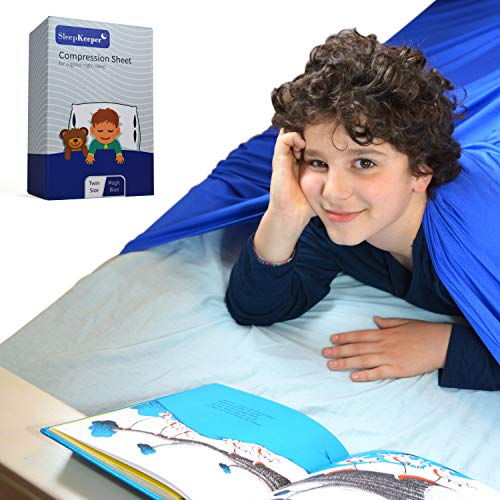 SleepKeeper Compression Blankets for Kids - Best Alternative to Weighted Blanket | Stretchy, Cool, and Breathable Compression Bed Sheets for Children and Adults with Sensory Needs (Twin, Blue)