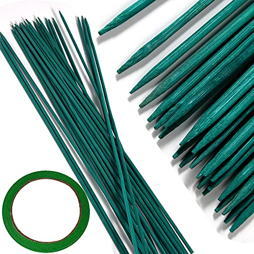 """50 PCS 18"""" Wood Plant Stakes Garden Tomato Sticks Plant Stakes & Supports for Potted Plants,Comes with 1 roll Tape"""