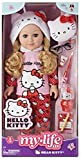 Outfit includes a Hello Kitty pajama set, slippers, and glasses Accessories include a Hello Kitty pillow, toothbrush, tube of toothpaste, bottle of real nail polish, light up lamp, diary with lined pages, and pencil. Eyes open and close PVC surface m...
