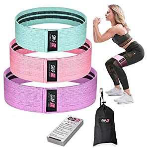 ShapEx Set of 3 Fabric Resistance Bands, Heavy Duty Non-Slip Booty Bands for Legs and Butt,Exercise Bands for Squats, Glutes, Stretching and Strength Training Carry Bag,User Guide (Purple/Pink/Green) by SHAPEX