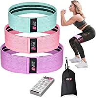 ShapEx Fabric Resistance Bands Set of 3 Non-Slip Booty Bands for Hip Circle Workout and Gym Fitness Exercise with Carry...