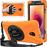BRAECNstock Samsung Galaxy Tab A 8.0 2017 Case(SM-T380/T385) Three Layer Heavy Duty Soft Silicone Hard Bumper Case with 360 Degrees Rotatable Kickstand/ Adjustable Handle and Shoulder Strap (Orange)