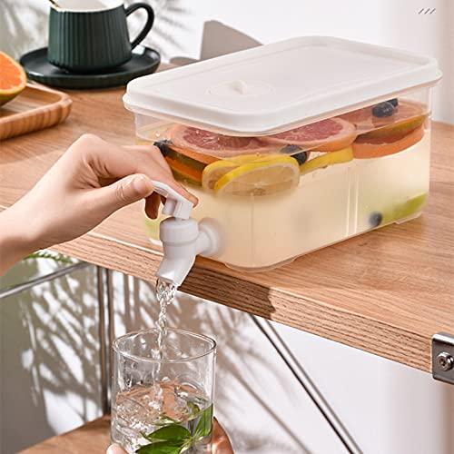 Dispensador de bebidas con grifo, Dispensador de bebidas de contenedor de té frío de 3 litros para nevera, Jarra de agua enfriadora de frutas, Infusor de agua helada