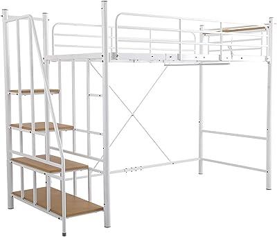 SEMI-SH 階段付き ロフトベッド シングル (ホワイト) アイアン パイプベッド 白