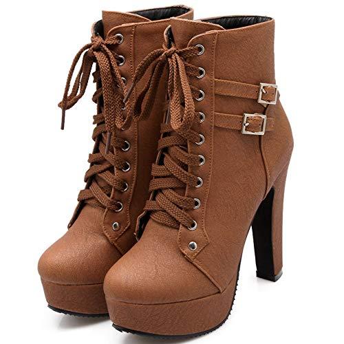 Cynllio Fashion Chunky High Heels Knöchelhohe Stiefeletten für Damen Schnürschuhe Plateau Schnalle Winter Kampfstiefel Punk Stiefel, Braun - 7 Braun - Größe: 39.5 EU