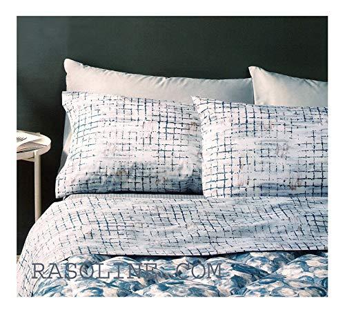 Zucchi Easy Chic Bettwäsche-Set für Einzelbett, 100 % reine Baumwolle, Perkal-Bettbezug + 2 Kissenbezüge, Farbe 3 Blau