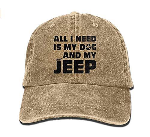 UUONLY Alles, was ich Brauche, ist Mein Hund und Mein Jeep einstellbare Gewaschene Kappe Cowboy Baseball Mütze
