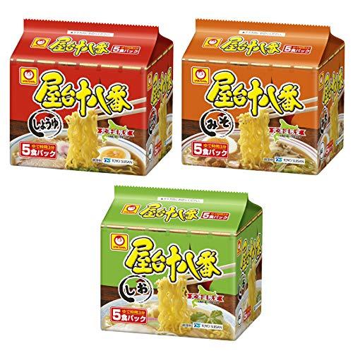 【北海道限定】マルちゃん 屋台十八番 3種(5食パック×3)計15食 しょうゆ、みそ、しお