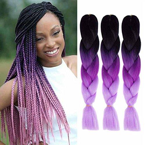 Jumbo Braids Ombre 3Tone Synthétique Kanekalon Extensions de Cheveux pour DIY Crochet Box Tressage 100g/pc Noir-Violet-Rose 3pcs/Lot 61cm(24 inch)
