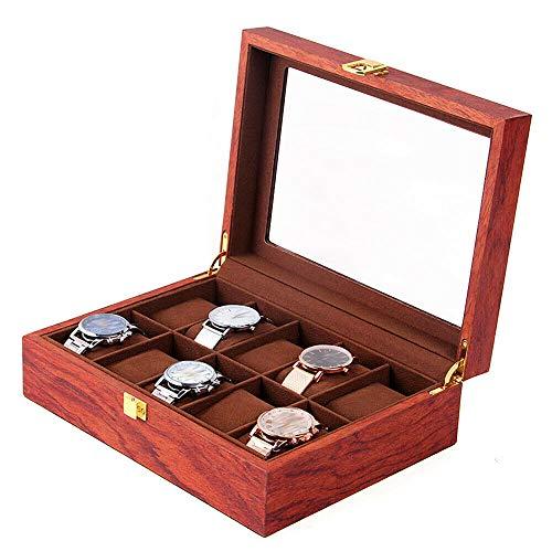 RainWeel 10 Slot Uhrenvitrine Vitrine Holzkiste Armbanduhr Aufbewahrungshalter Organizer mit Glasplatte Palisander Getreide