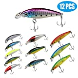 "Topwater Lures Minnow Baits 12 pcs Fishing Lures Set for Freshwater & Saltwater, Lifelike Crankbait Fishing Plugs 2.4"" to 3.4"" Bass Lures with 3D Laser Coating and Blood Slot Hook (Minnow 12PCs)"