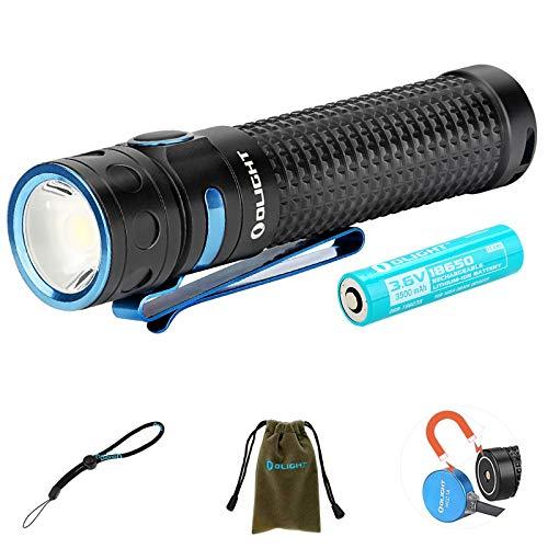 Olight Baton Pro Linterna Poderoso 2000 lúmenes / 132 metros CW LED Linternas Recargable impermeable con batería 18650 + estuche para batería Tidusky