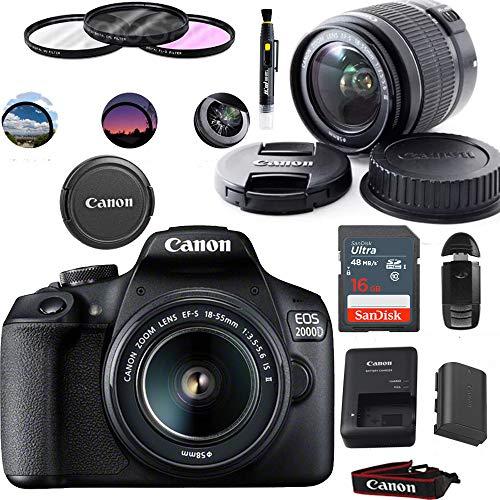 entry level slrs Canon EOS 2000D (Rebel T7) Digital SLR Camera with 18-55mm Lens Kit (Black) - Basic Accessories Bundle