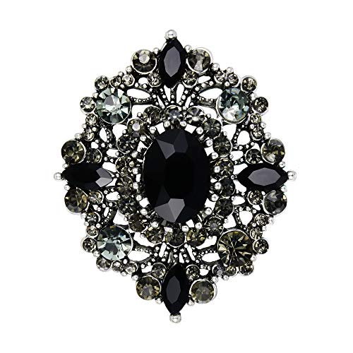 EVER FAITH Broches Alfileres para Mujer Cristal Austríaco Boda Banquete Vintage Estilo Ahuecado Flor Negro Antiguo Plateado