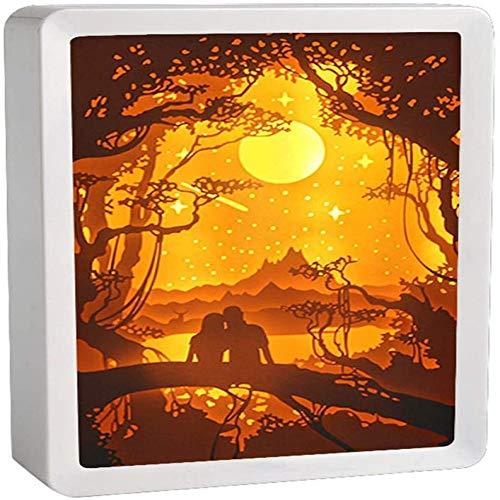 Wangzj Luces de noche hechas a mano Lámpara de mesa LED creativa Luces de noche y luces talladas en papel de sombra, Lámpara de talla de papel 3D Arte y manualidades, Regalo/E