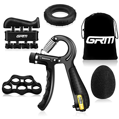 GRM Grip Strength Trainer Hand Grip Strengthener Kit 5 Pack, 11-132 Lbs Counting & Adjustable Resistance Forearm Grip, Finger Exerciser, Finger Stretcher, Grip Ring, Hand Therapy Ball for Athletes