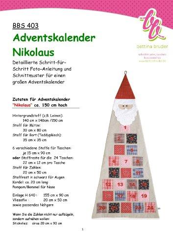 BBS 403 Schnittmuster für Adventskalender Nikolaus - mit Fotoanleitung bettinabruder®