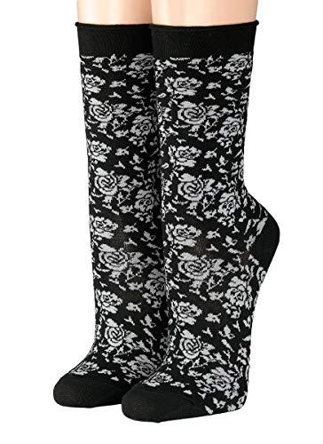 CRÖNERT Socken Longsocks mit Rollrand Design Rosi 18216 (39-42, schwarz)
