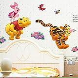 Cartoon Winnie the Pooh Bär Schwein Tiger Wandaufkleber