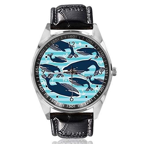 Reloj de Pulsera con diseño de Ballenas y Anclas, analógico, de Cuarzo, Esfera Plateada, Correa de Piel clásica, para Hombre y Mujer