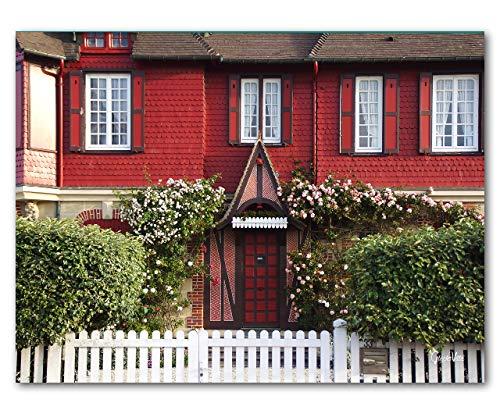 Normannische Villa - XXL Bild Wandbild, quer, div. Größen, Leinwand & Acrylglas. Normandie Haus Gebäude Fenster Tür Rose Garten Natur Kletterrose Zaun groß Kunst (100 x 80 cm, Acrylglas 5 mm)