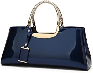 Fashion European & American Women Handbags Solid Color Patent Leather Shoulder Bag Bride Bag Candy Color & Zipper PU Messenger Jelly Package (Color : Blue)