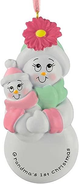 Personalized Grandma S 1st Christmas Tree Ornament 2019 Grandmother S First Grand Child Hug Baby Girl Hat New Born Gran Kid Grand Daughter Free Customization Pink