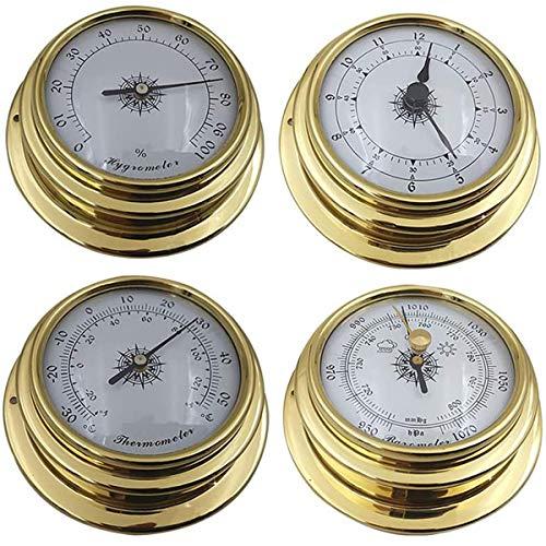 Siunwdiy Wetterstation Barometer, Uhr Set, 4tlg Thermometer Hygrometer Kit, an der Wand befestigten, mit Messing Gehäuse Kunststoff-Bodenwanne,Messing,4pcs