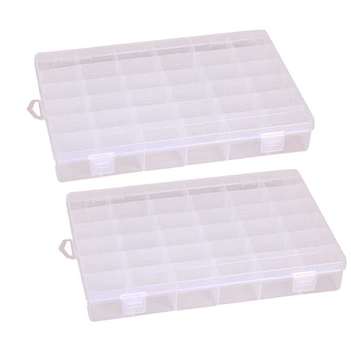 Richohome 36 Grids Adjustable Jewelry Bead Organizer Box Storage Container Case,Pack of 2