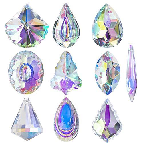 HampD 10pcs Coloful Crystal Chandelier Lamp Lighting Drops Pendants Prisms Hanging Glass Prisms Parts Suncatcher Home Car Decor