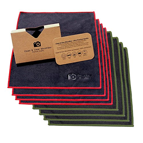 Extra Large [8 Pack] Ultra Premium Quality Lens Microfiber Cleaning Cloth - Microfiber Cloth for Camera Lens, Glasses, Screens, and All Lens.
