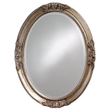 Howard Elliott Queen Anne Mirror, Hanging Beveled Oval Wall Mirror, Antique Silver Leaf