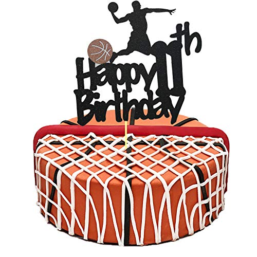 Basketball Cake Topper, Glittery Happy 11th Birthday Basketball Cake Toppers for 11 Year Old Boy and Kids Basketball Scene Themed Birthday Decorations Basketball Fans Party Favors