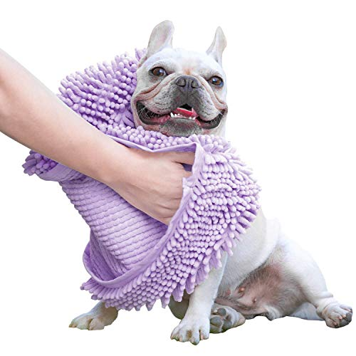 GoChes Dog Towel - Super Absorbent Quick Dry Dog Shammy Towels with Hand Pockets, Microfiber Pet Bath Towels for Drying Small, Medium, Large Dogs and Cats, Purple,Medium
