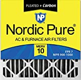 Nordic Pure 24x24x4PM10C-1 Pleated MERV 10 Plus Carbon AC Furnace Filter (1 Pack)