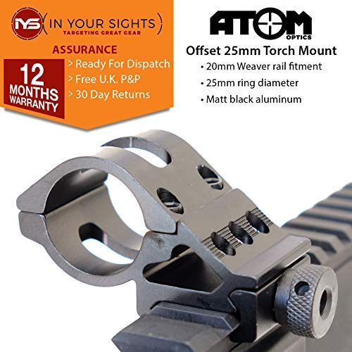 """Atom Optics 25mm Offset Taschenlampenhalterung / 1 \"""" Offset Gewehr Laser Halterung / Passungen 20mm Weaver Schiene"""