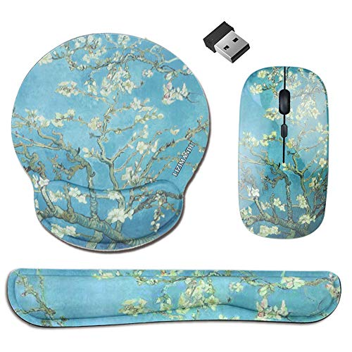 LIZIMANDU Gaming Mouse and Mouse Pad Set,Wireless Computer Mouse | Keyboard Wrist Rest Pad and Mouse Wrist Rest Support Mouse Pad for Home, Office(R3-Peach Blossom)