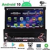 1 Din Radio Android 10 Simple Din Car Stereo Bluetooth 7 Pouces à écran Tactile Dépliez 1080P Amovible Lecteur DVD GPS Navigation Headunit Indash avec Commande au Volant et Mirrolink Gratuit Caméra