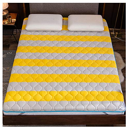 Mattress Household, Sponge, Single Double Thick Warm Tatami mat,Student, Yellow,150200/5979inch