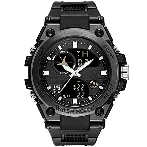 WNGJ Reloj Deportivo Digital para Hombres Reloj táctico Impermeable con Reloj de retroiluminación LED para Hombres Reloj de cronógrafo analógico para Hombres con Acero in